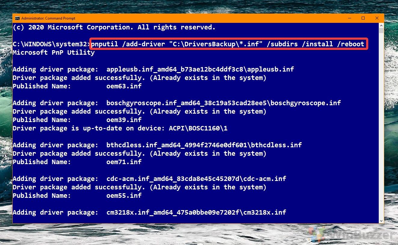 Windows 10 - Command Prompt - pnputil add-driver