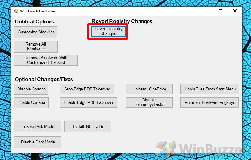 Windows 10 - Windows10Debloater - Revert Registry Changes