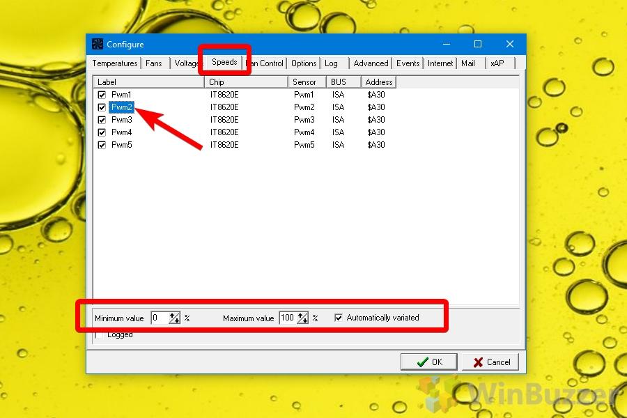 SpeedFan - Settings - Speeds - Select Fan + Min Max + Automatically variated