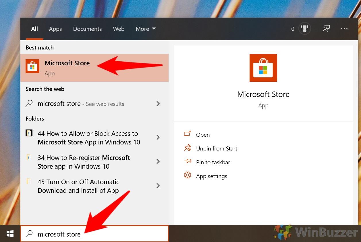 Windows 10 - Open Microsoft Store