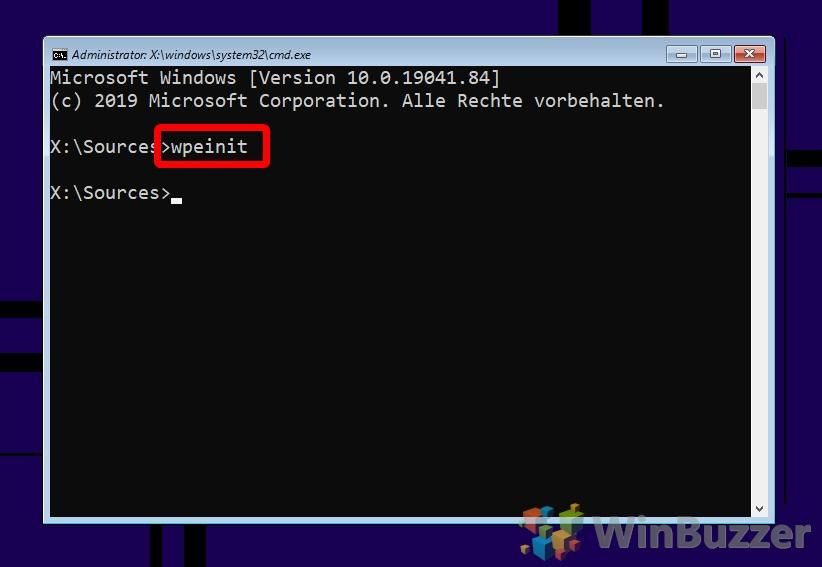 Windows 10 - Installation - CMD - wpeinit
