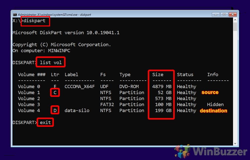 Windows 10 - Installation - CMD - diskpart list vol