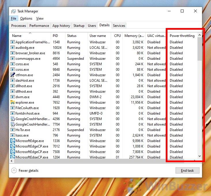 Windows 10 - Task Manager - Details - Select Columns - Power Throttling - Apps Bing Throttled