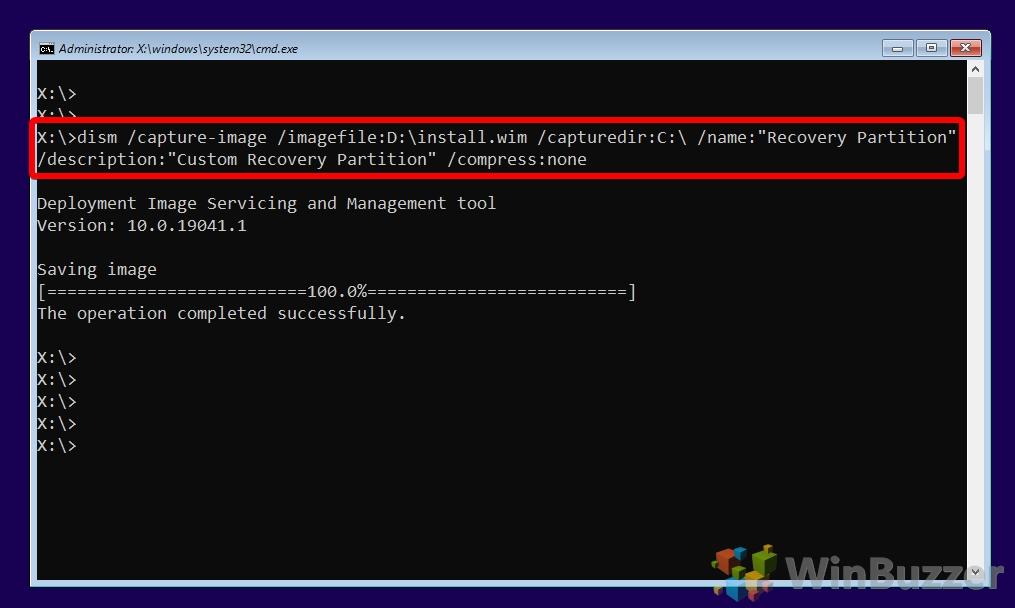 Windows 10 - Installation - CMD - DISM capture image