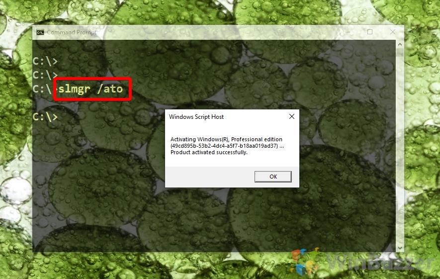 Windows 10 - Elevated CMD - slmgr ato