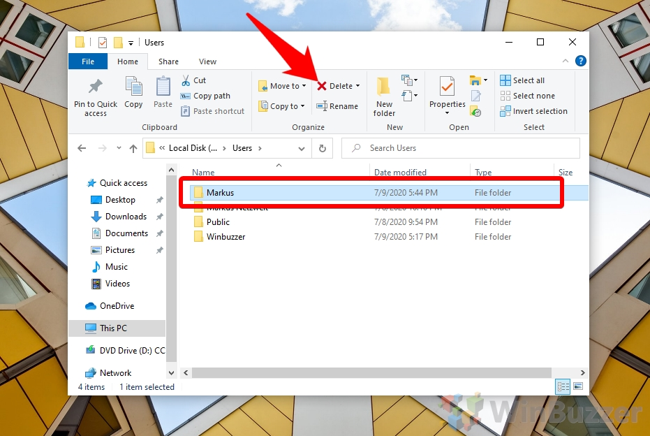 Windows 10 - File Explorer - User Profiles - Delete