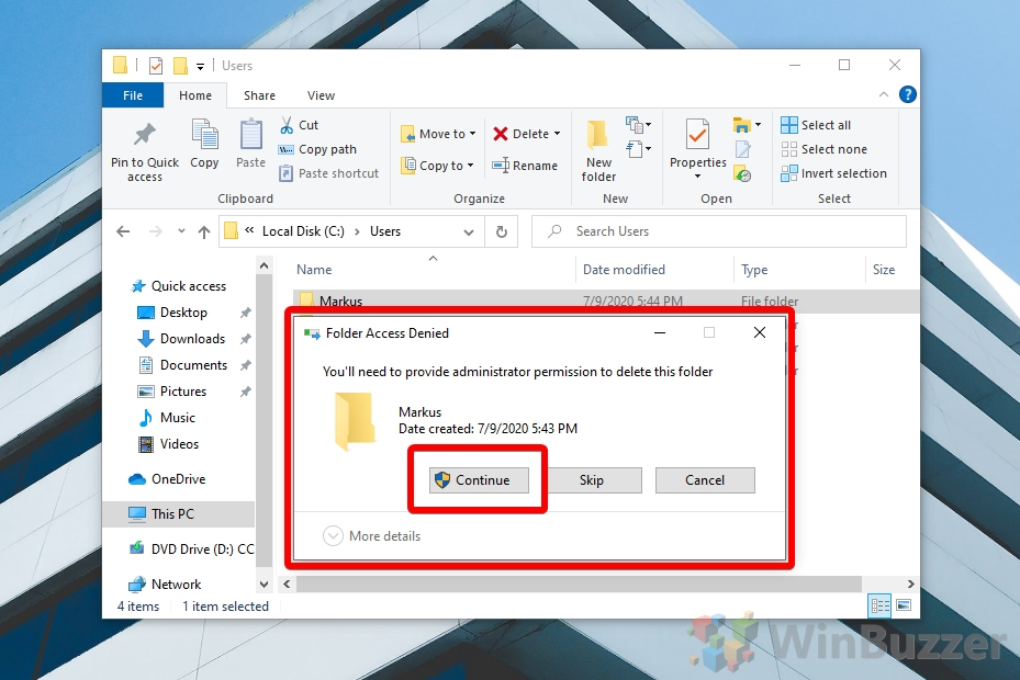 Windows 10 - File Explorer - User Profiles - Confirm Delete