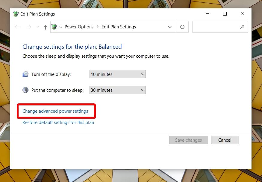 Windows 10 - Search - Edit Power Plan - Open Advanced Power Settings
