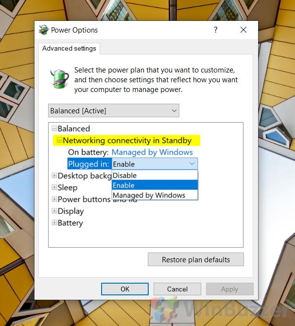 Windows 10 - Power Plan - Power Options