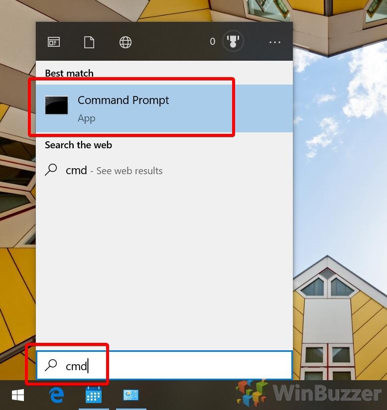Windows 10 - Search - CMD