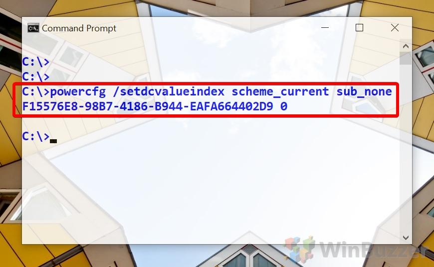 Windows 10 - Command Prompt - powercfg setdcvalueindex