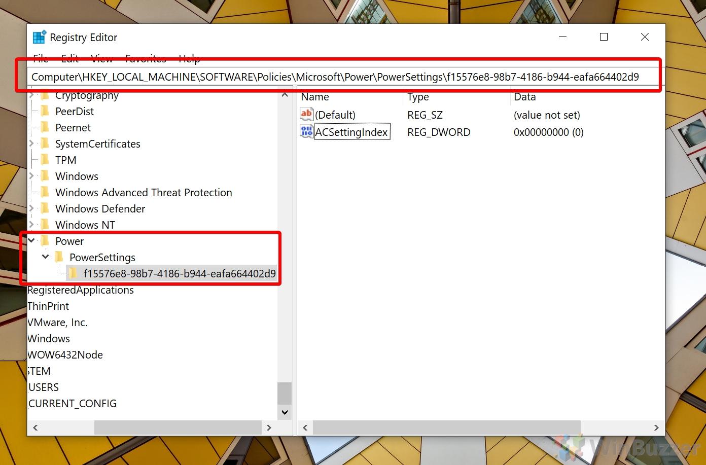 Windows 10 - Search - Registry Editor - Power Settings
