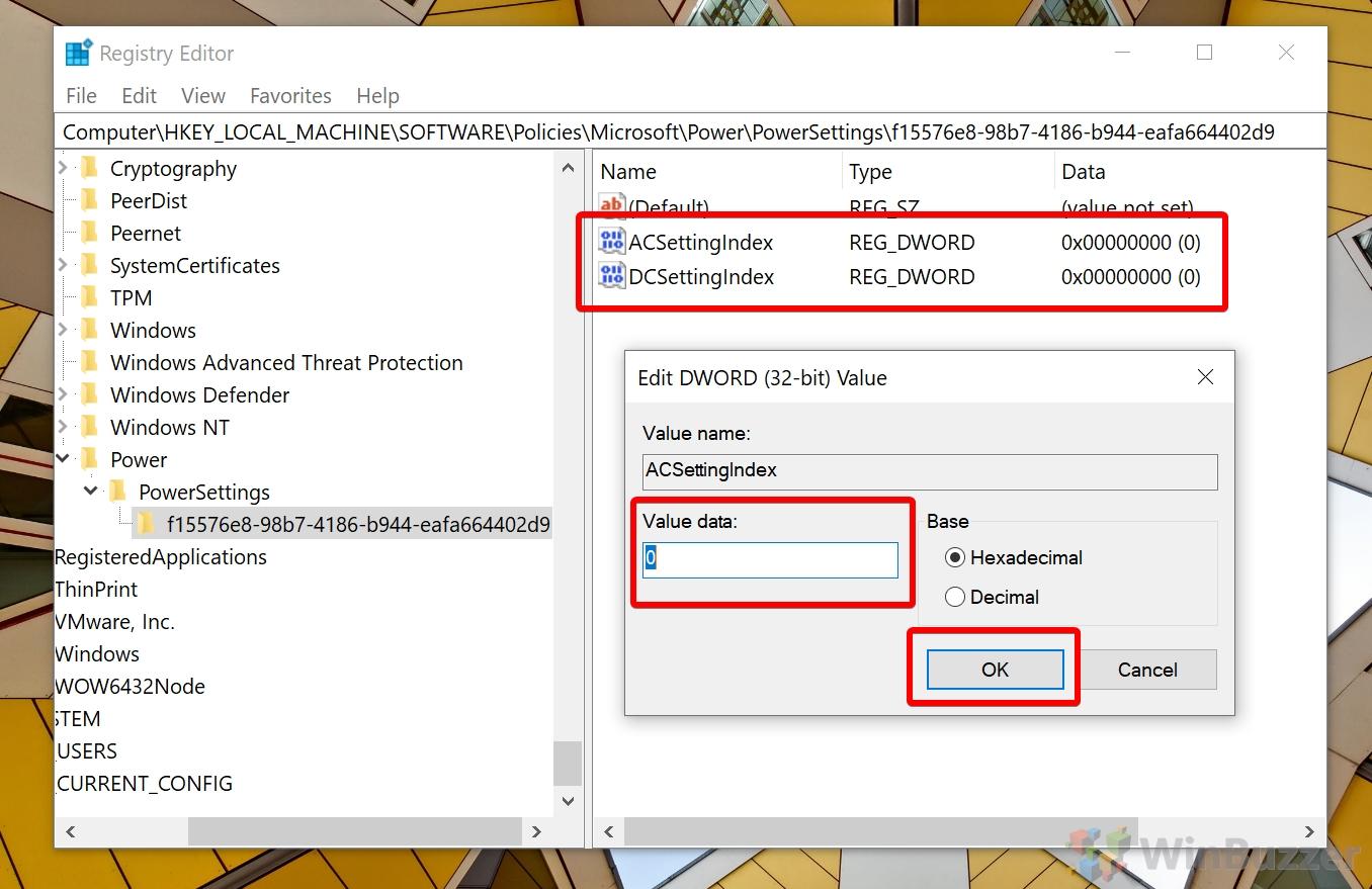 Windows 10 - Search - Registry Editor - PowerSettings - ACSettingsIndex