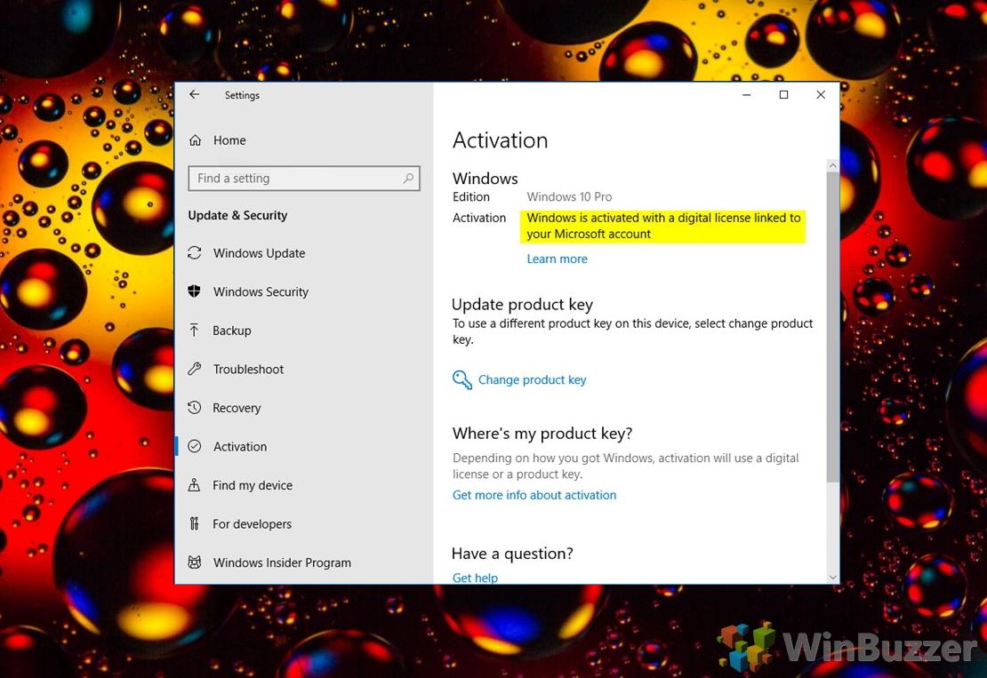 Windows 10 - Settings - Activation status