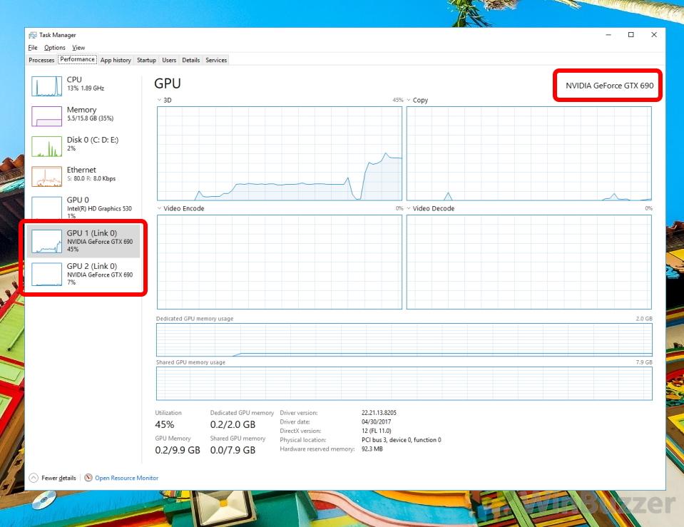 Windows 10 - Task Manager - Performance - GPU Details