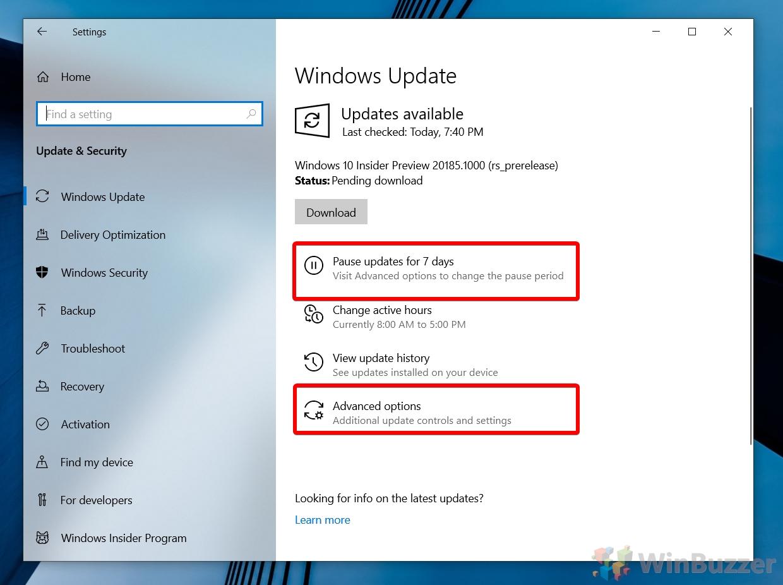 Windows 10 Settings - Pause Windows Updates