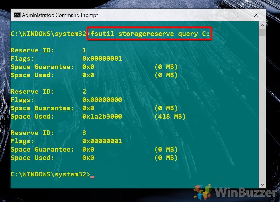 Windows 10 - CMD admin - fsutil storagereserve query