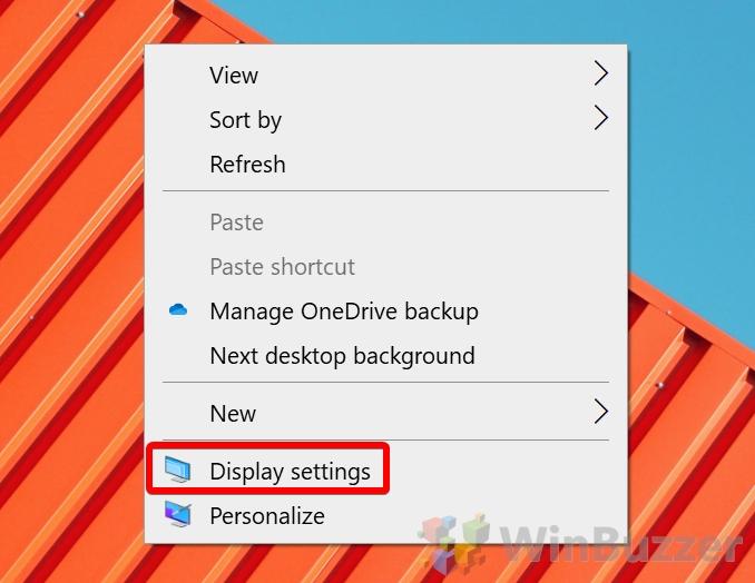 Windows 10 - Open Display Settings