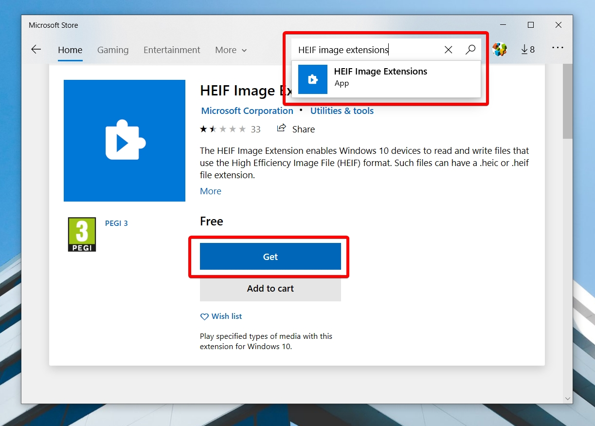 Windows 10 - Store App - HEIF Image Extensions