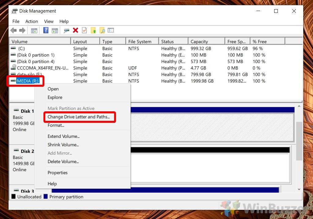 Windows 10 - Disk Management - Drives Table - Change Drive Letter