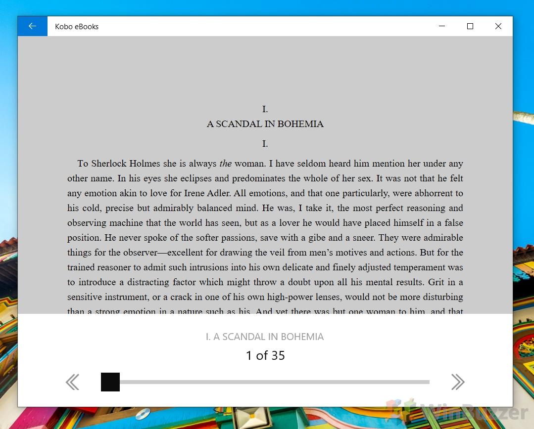 Windows 10 - Kobo eBooks as EPUB reader store app