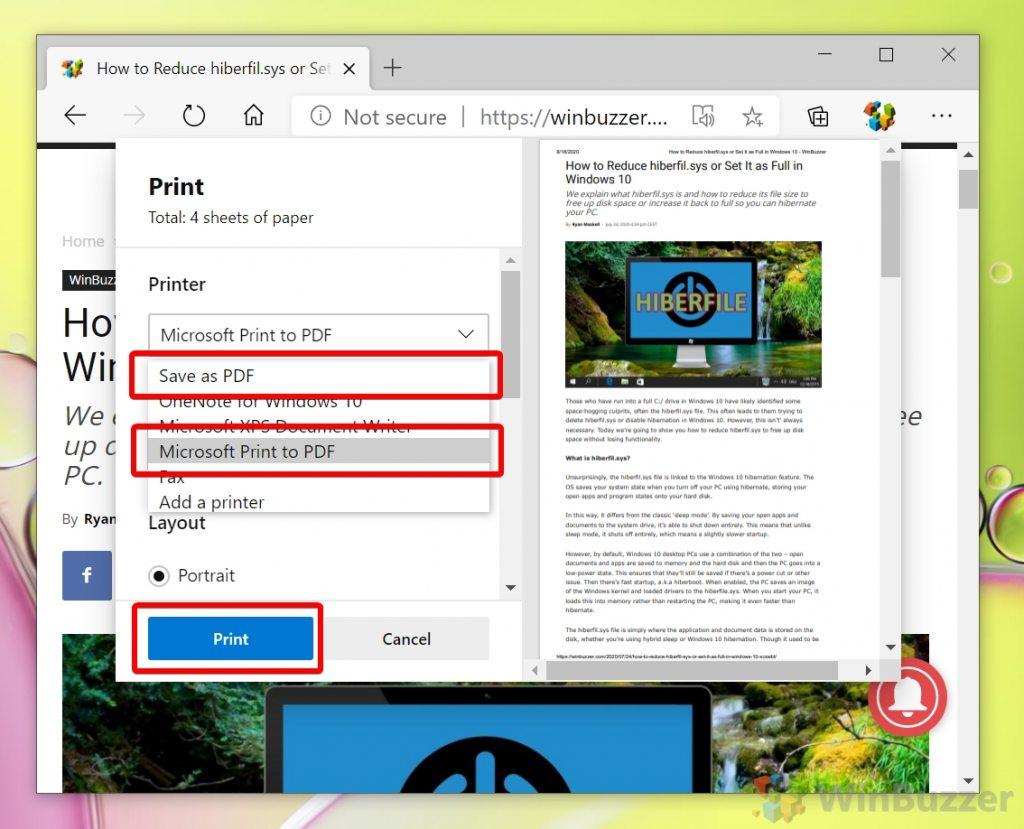 Windows 10 - Microsoft Edge - Print - Select Microsoft Print to PDF