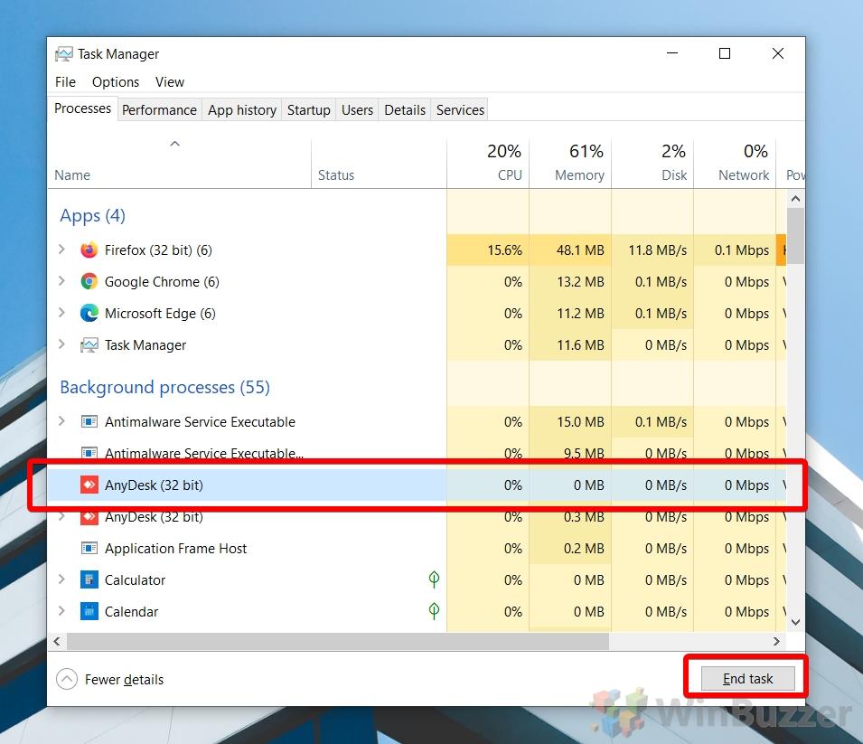 Windows 10 - Task Manager - Kill Process