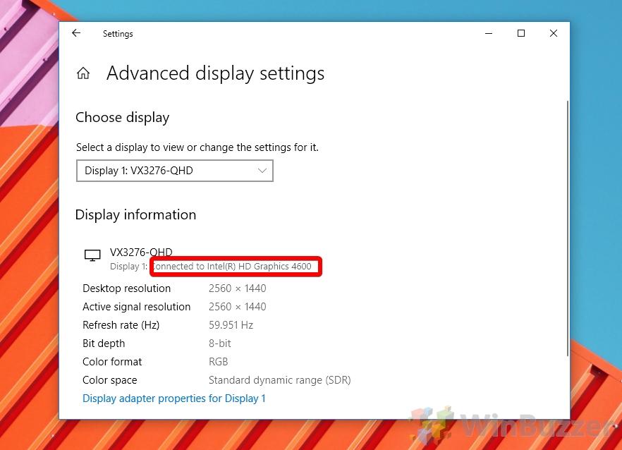 Windows 10 - Advanced Display Settings