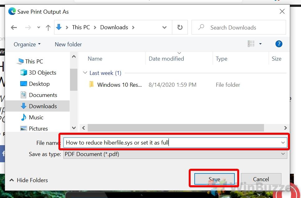 Windows 10 - Microsoft Edge - Print PDF - Choose path and filename