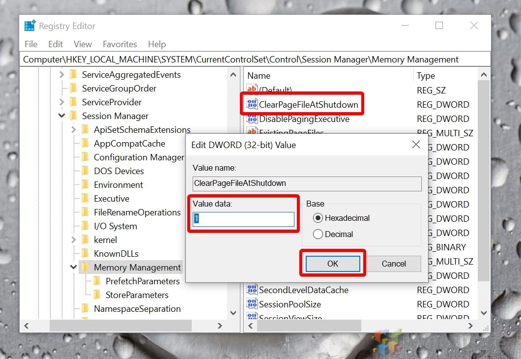 Windows 10 - Registry Editor - Memory Management - ClearPageFileAtShutDown