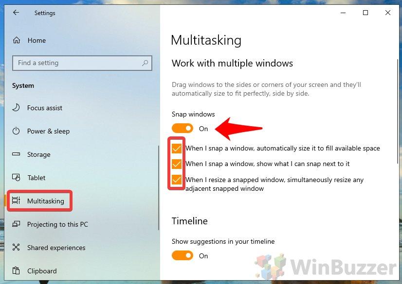 Windows10 - Settings - System - Multitasking - Snap Windows On