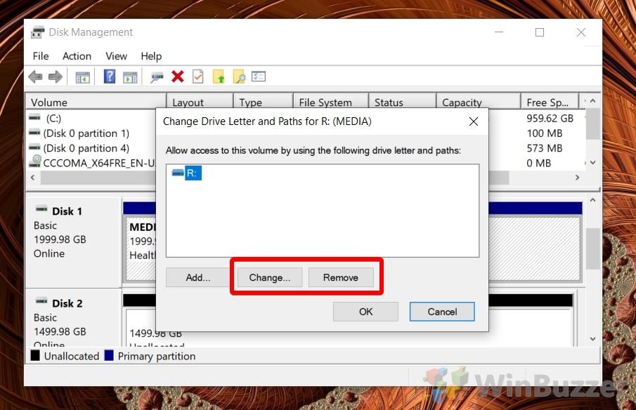 Windows 10 - Disk Management - Change Drive Letter - Change or Remove
