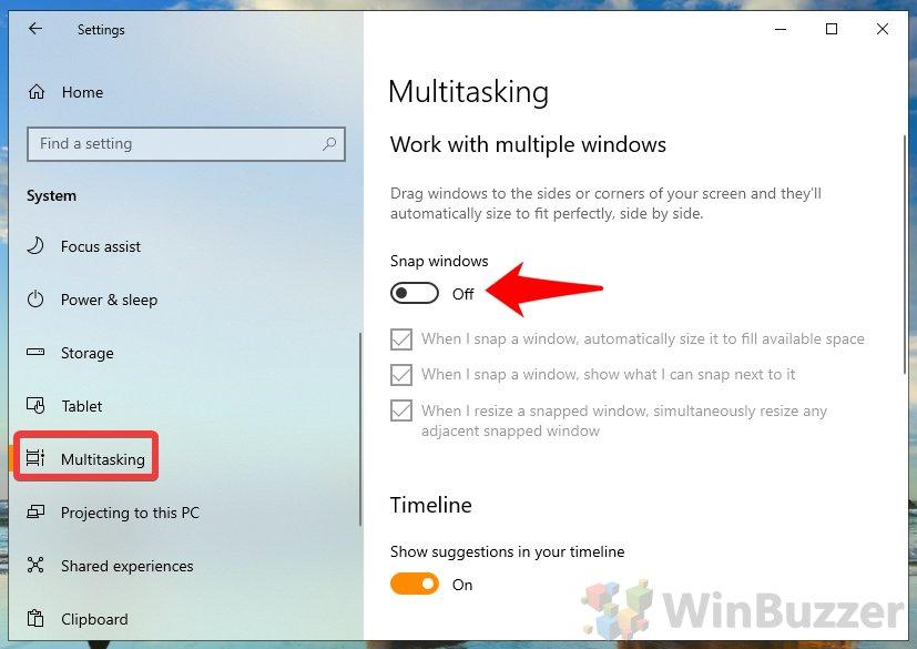 Windows10 - Settings - System - Multitasking - Snap Windows Off