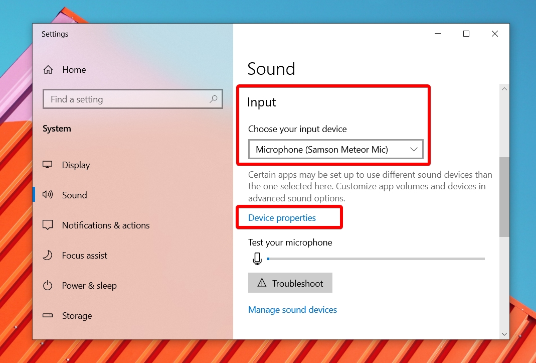 Windows 10 - Sound Settings - Open Input Device Properties