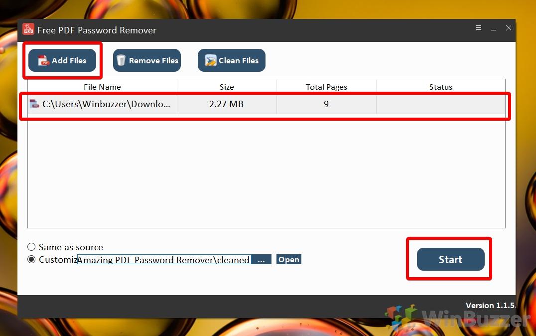 Windows 10 - Free PDF Password Remover