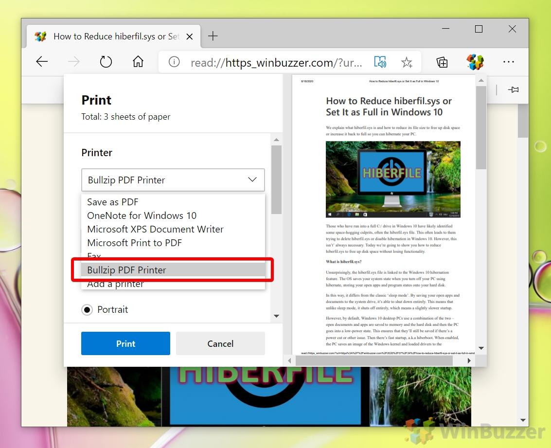 Windows 10 - Microsoft Edge - Print - Select Bullzip PDF Printer
