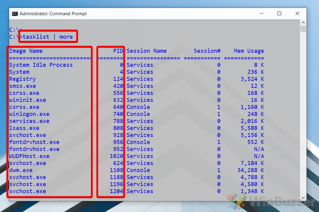 Windows 10 - CMD admin - tasklist - processes with IDs