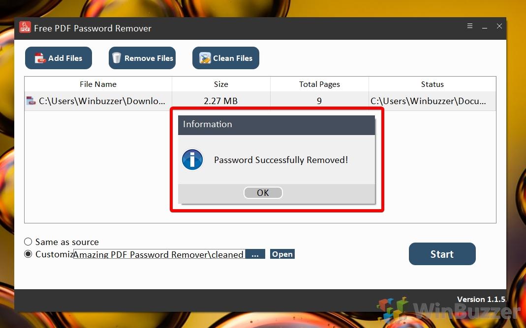 Windows 10 - Free PDF Password Remover - Success