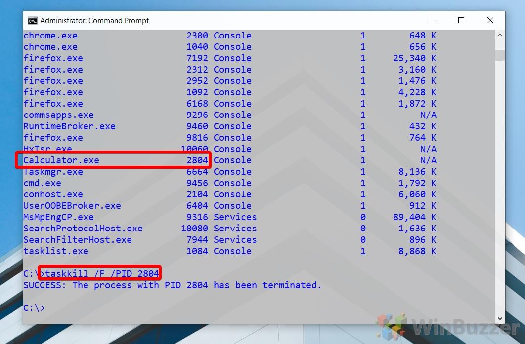 Windows 10 - CMD admin - taskkill PID