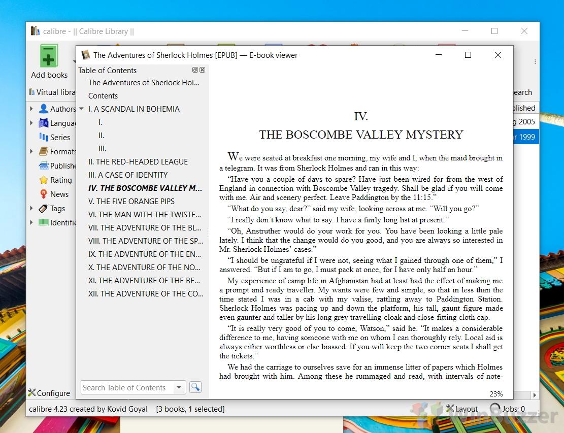 Windows 10 - Calibre Reader - EPUB eBook