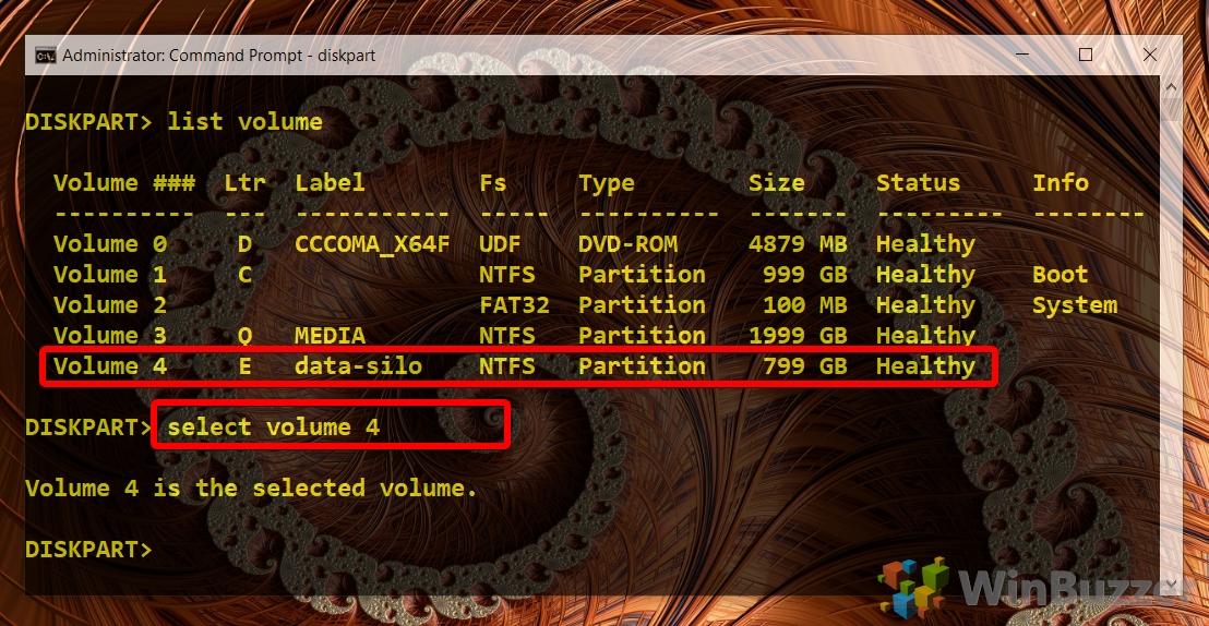 Windows 10 - CMD admin - Diskpart - select volume
