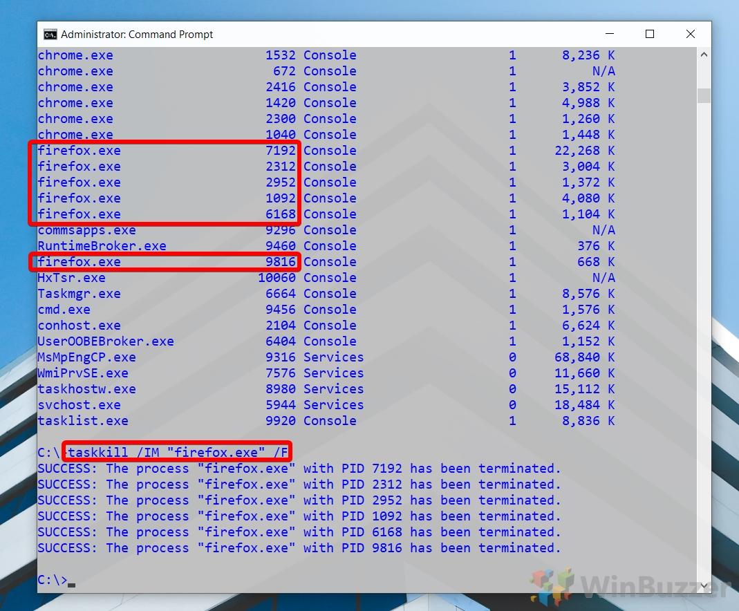 Windows 10 - CMD admin - taskkill process by name