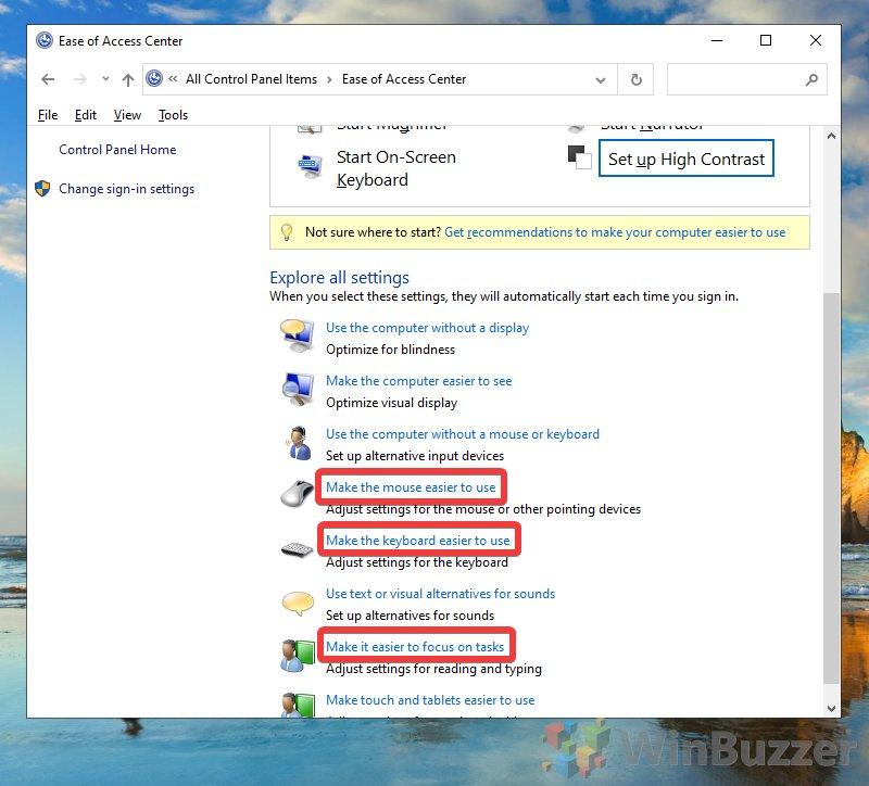 Windows 10 - Control Panel - Ease Of Access Center