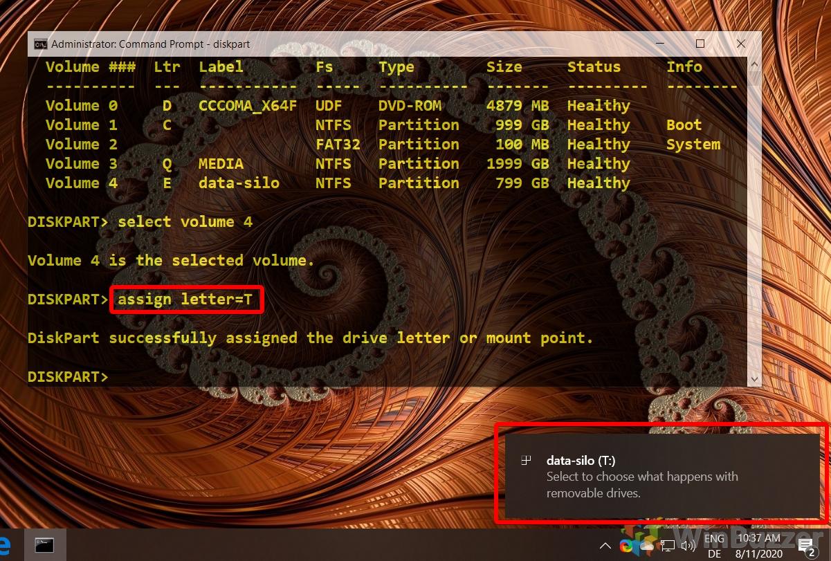 Windows 10 - CMD admin - Diskpart - assign letter