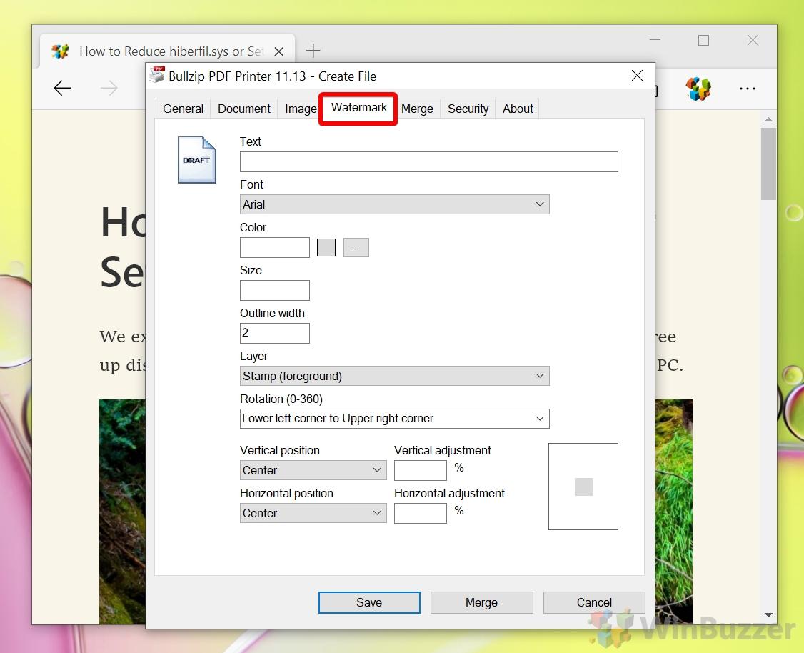Windows 10 - Bullzip PDF Printer - Select optional Watermark