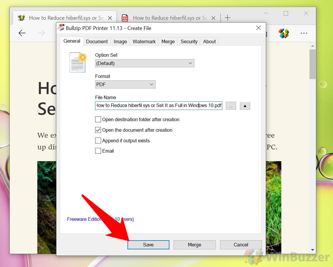 Windows 10 - Bullzip PDF Printer - Save
