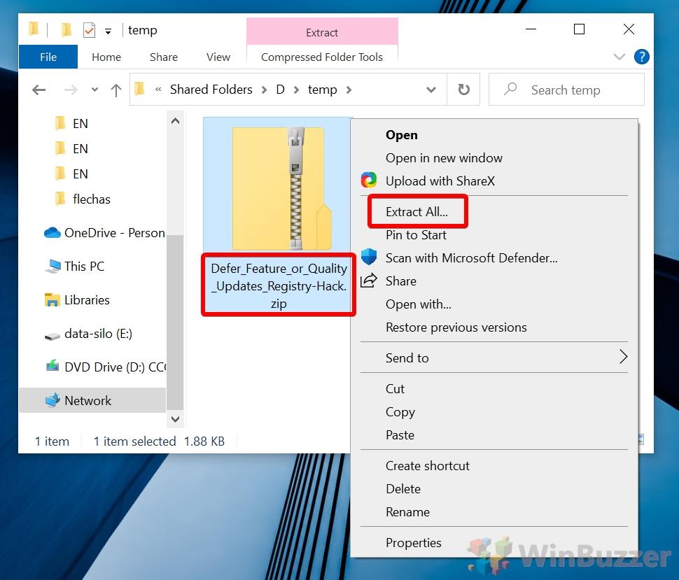 Windows 10 - Extract Defer Updates Registry Hack