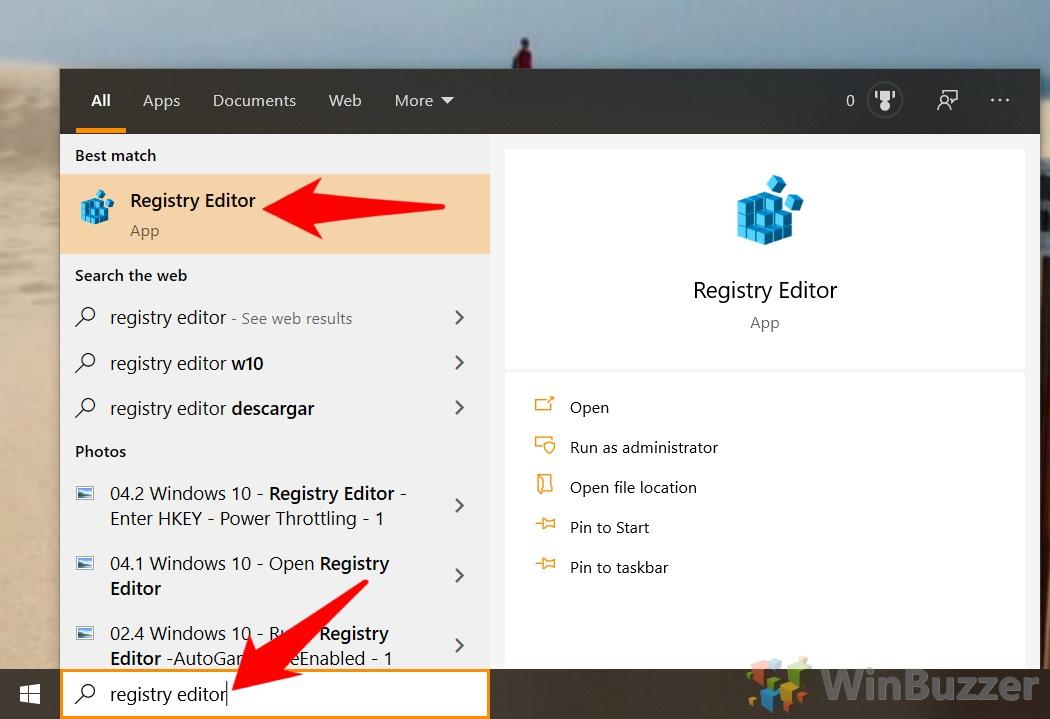 Windows 10 - Open Registry Editor