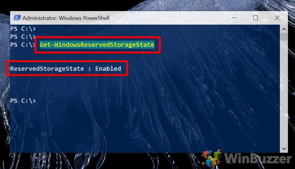 Windows 10 - Powershell admin - Get-WindowsReservedStorageState