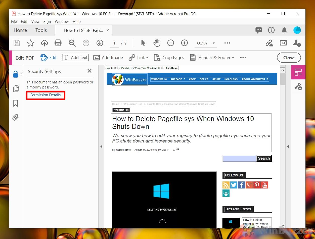 Windows 10 Adobe Acrobat Pro DC - Security Settings